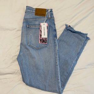 Aritzia Denim Forum Yoko High Rose Slim Jeans